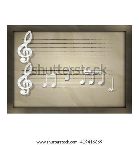 Vector illustration of a music sheet paper music notes. Old paper background with shadow and there is a place for text or image. Notes are arranged randomly and are not the product. - stock vector
