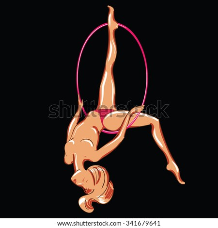 Vector illustration of a naked dancing stripper with a hoop - stock vector