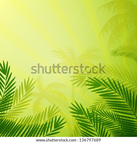 Vector Illustration of a Natural Background with Palm Trees - stock vector