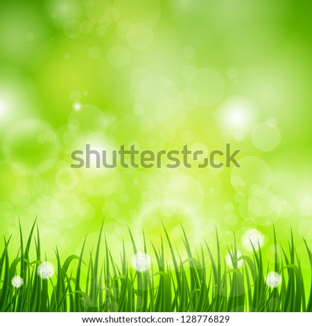 Vector Illustration of a Natural Green Background with Grass