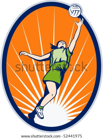 vector illustration of a netball player rebounding jumping for ball set inside an oval with sunburst in background