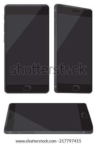 Vector illustration of a new black and shiny hand phone in three different perspective views isolated on white background - stock vector