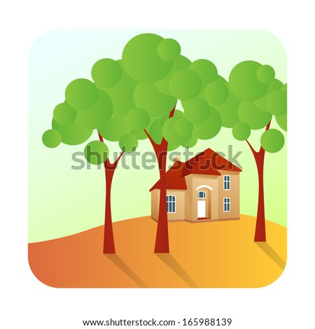 vector illustration of a nice comfortable cottage situated on a hill among  trees - stock vector