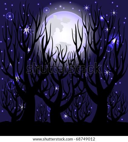 vector illustration of a night scene. - stock vector