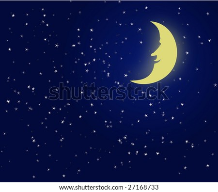Vector illustration of a night sky with fantastic moon - stock vector