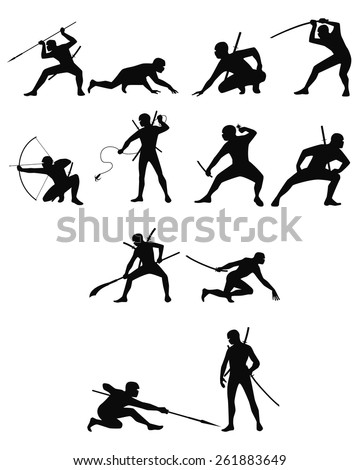 Vector illustration of a ninja silhouettes set - stock vector