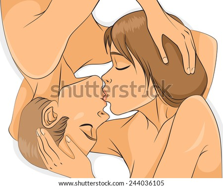 Vector illustration of a nude couple kissing - stock vector