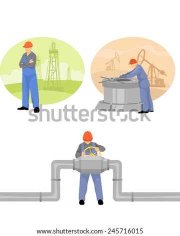 Vector illustration of a oilman background in  infrastructure - stock vector