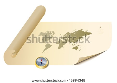 Vector - Illustration of a old antique parchment map with a golden compass