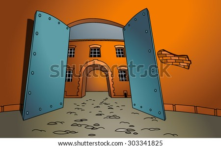 Vector illustration of a open gate with a building in the background. The entrance. Welcome. Cartoon style. Empty space leaves room for design elements or text. Concept. Postcard. Poster. Background. - stock vector