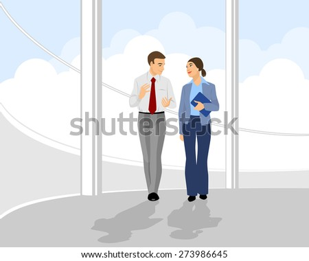 Vector illustration of a pair businessmen in office hall - stock vector