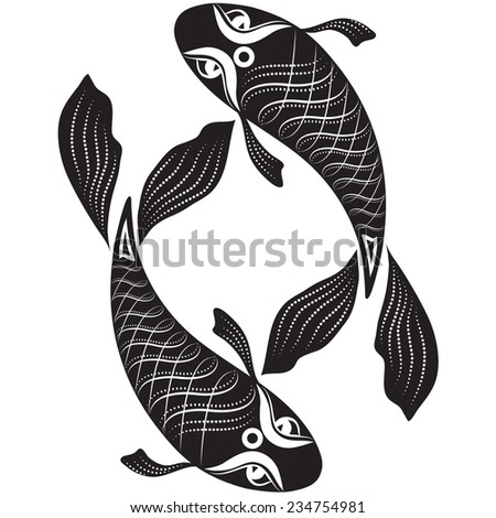 Vector illustration of a pair of fish in black and white graphic style - a tattoo template