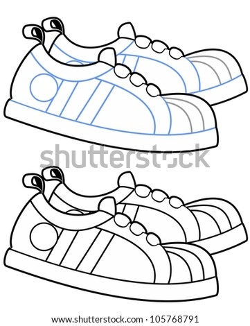 vector illustration of a pair of running shoes side by side black and white - stock vector