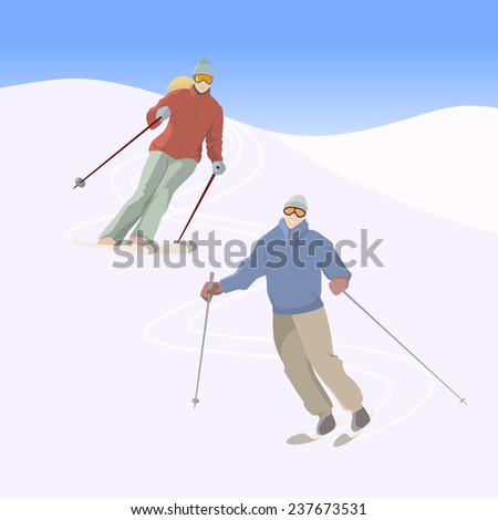 Vector illustration of a pair of skiers on downhill. Winter recreational activities and sport illustration. Advertising design elements. - stock vector