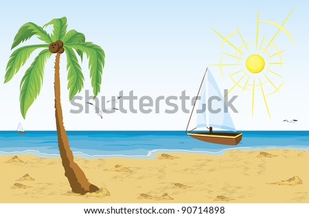 Vector illustration of a palm tree on sand beach and bat sailing in the ocean - stock vector