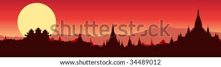 vector illustration of a panoramic view of Bagan in Myanmar - stock vector