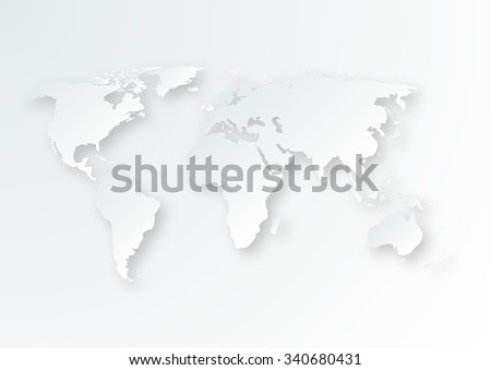 Vector illustration of a paper map of the world. - stock vector