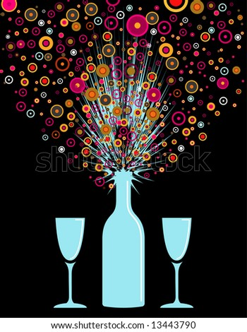 vector illustration of a party bottle exploding on opening - stock vector