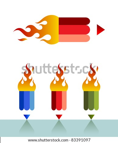 Vector illustration of a pencil with a fire. Can be easily colored and used in your design. - stock vector