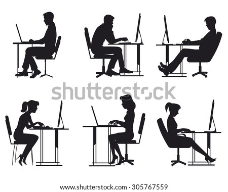 Vector illustration of a people working at computer - stock vector
