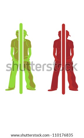 Vector illustration of a persons self transformation. - stock vector