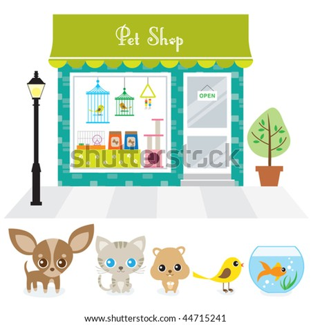 Vector illustration of a pet shop with large window display on a street. Also includes illustration of chihuahua puppy, cat, hamster, bird, and goldfish. - stock vector