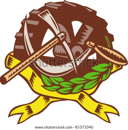 vector illustration of a pick ax with sickle cog gear in olive leaf ribbon in background. - stock vector