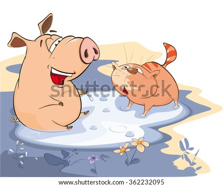 Vector Illustration of A Pig and a Cat in a Puddle - stock vector