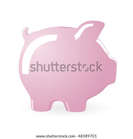 Vector illustration of a Piggy bank isolated on white background - stock vector