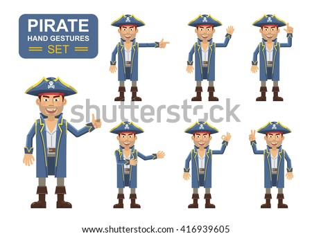 Vector illustration of a pirate captain showing different hand gestures