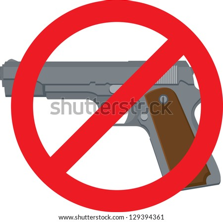 Vector Illustration of a pistol with red circle and line - stock vector