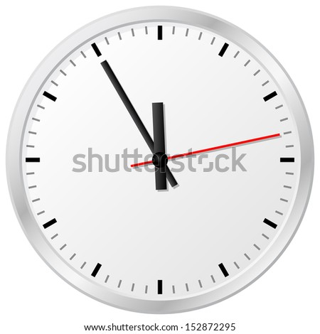 vector illustration of a plain wall clock in the eleventh hour