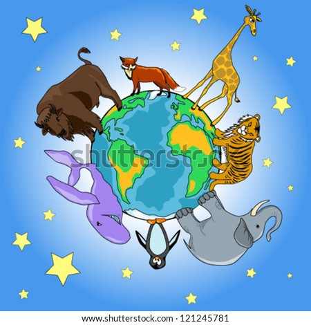 vector illustration of a planet and animals - stock vector