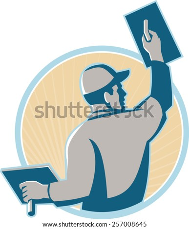 vector illustration of a plasterer construction mason worker with trowel at work set inside a circle done in retro style. - stock vector