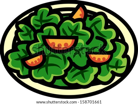 Vector illustration of a plate of salad