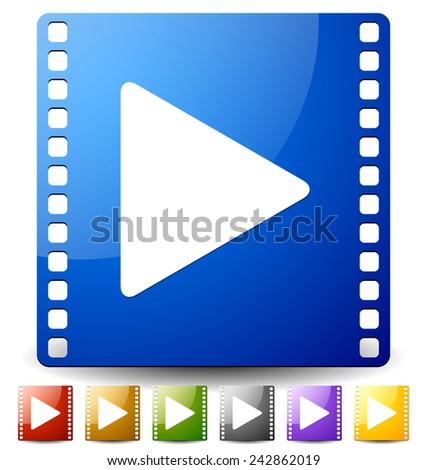Vector illustration of a play button on film strip in several colors. Icon for multimedia, film production concepts. - stock vector