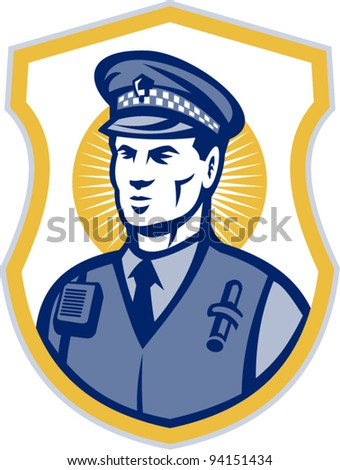 vector Illustration of a police officer policeman security guard set inside shield on isolated white background.