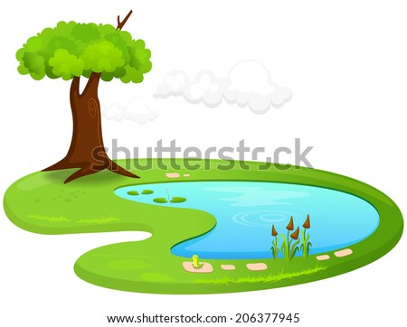 Vector illustration of a pond - stock vector