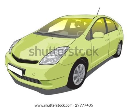 Vector illustration of a popular hybrid car. - stock vector