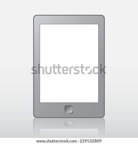 Vector illustration of a portable modern tablet pc e-book reader. For reading book. EPS10 - stock vector