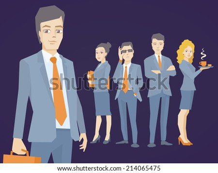 Vector illustration of a portrait of a man in a jacket lawyer with a briefcase in his hand on dark background of business team of young businesspeople - stock vector