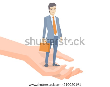 Vector illustration of a portrait of a man in a jacket lawyer with a briefcase in his hand standing together on palm of the hand on white background - stock vector