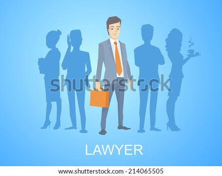 Vector illustration of a portrait of a man in a jacket lawyer with a briefcase in his hand stands in the center on blue background of silhouette business team of businesspeople - stock vector