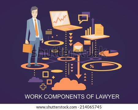 Vector illustration of a portrait of a man in a jacket lawyer with a briefcase in his hand stands on the scheme of his work components on dark background  - stock vector