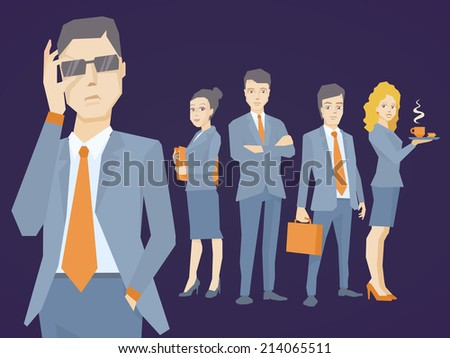 Vector illustration of a portrait of analyst man in a jacket hand holds glasses on dark background of business team of young businesspeople - stock vector