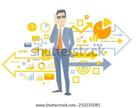 Vector illustration of a portrait of analyst man in a jacket hand holds glasses stands near the scheme of business processes on white background  - stock vector