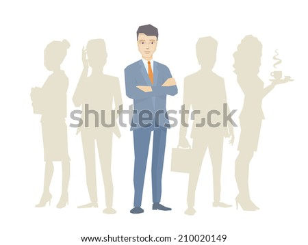 Vector illustration of a portrait of the leader of a businessman wearing a jacket with clasped hands on his chest stands in the center on the background of silhouette business team of businesspeople - stock vector