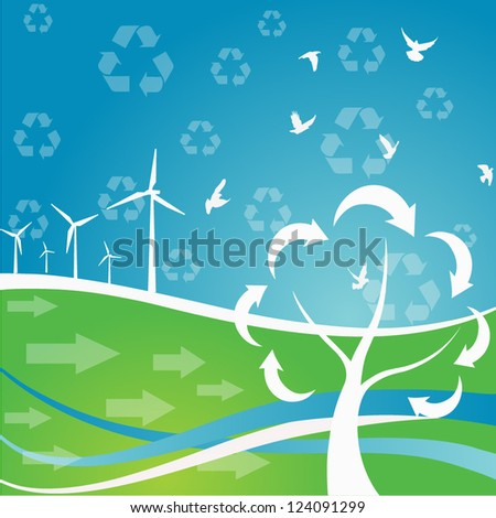 Vector illustration of a power generating wind turbine. Flat style - stock vector
