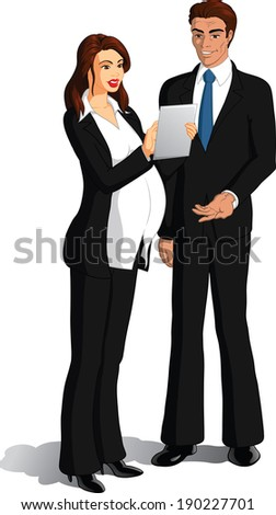 Vector illustration of a pregnant businesswoman showing electronic tablet screen to a businessman. - stock vector