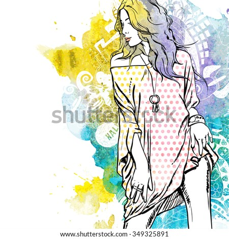 Vector illustration of a pretty girl on a background with watercolor blot. Vector collection. - stock vector